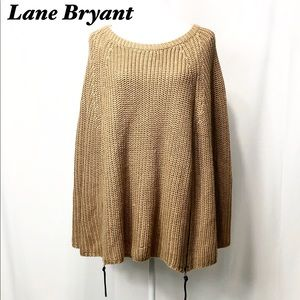 Lane bryant Cape Tan Sweater Zipper Detail 14/20